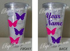 Custom  Butterflies  16 oz. or 32 oz. acrylic by iByteDesigns