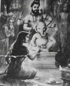 Ganapati with Elephant Head by Father Shiva and Mother Parvati Ganapati reincarnation Durga Goddess, Vedic Art, Hinduism Art, Shiva Shakti, Lord Ganesha Paintings, Art, Lord Shiva Pics