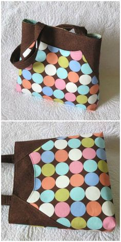 Tote bag with deep front pocket