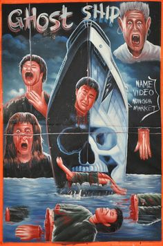 Fright Nights - Hand drawn Horror Movie posters from Ghana Sci Fi Horror Movies, Horror Movie Posters, Cinema Posters, Film Posters, Horror Cartoon, Local Movies, Ghost Ship, African Artists, Fright Night