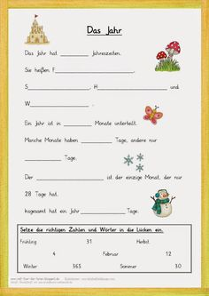 Gap text for the year . - Lernen - Welcome Education Primary Education, Primary School, German Resources, Kindergarten Portfolio, German Grammar, German Language Learning, Learn German, Educational Websites, Home Schooling