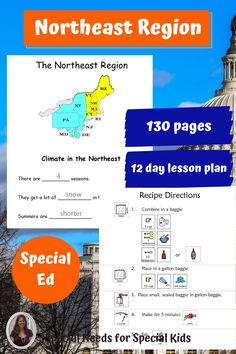 This unit on US Geography covers the Northeast region. 130 page unit on the geography of the Northeast Region addresses the characteristics of Northeast Region. Includes a book, activities, crafts, recipes, quizzes and more. Great if you teach in a special education setting. Appropriate for middle and high school as well. Also available in a bundle that covers the ENTIRE United States. #specialneedsforspecialkids #SPED #specialed #SpecialEducation  #geography #Northeast #usa #Northeastregion
