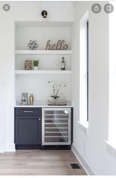 Built In Bar Cabinet, Home Bar Cabinet, Mini Bars, Home Wet Bar, Bars For Home, Recessed Shelves, Floating Shelves, Corner Shelves, Wall Shelves