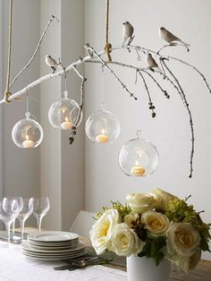 Luna Bazaar Wedding Decor :: hanging votives + glass vases | WeddingGirl.ca