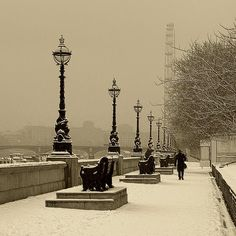 Walk in the Winter Snow, London - Quality Canvas Art in Sepia