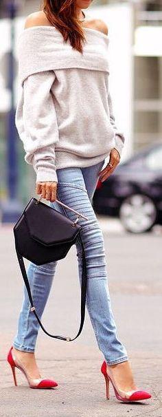 cozy cowl neck sweater & Skinny Jeans ❤︎ #street #style
