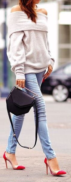 cozy cowl neck sweater & Skinny Jeans ❤︎ #street #style