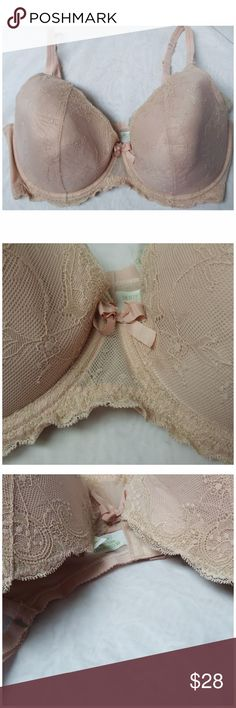 Lacey Motherhood Nursing Bra 40DDD /40E, 42DD, 44D Blush color with gold metallic inter-weaved in the trim, very lightly padded, 3 hook clasp, worn once. No stains, rips, or tears. Tag reads 40E, will fit 30J, 32I, 34H, 36G, 38F, 40DDD/E, 42DD, 44D. From a smoke-free, dog friendly home, No trades and no off-site transactions! (266) Motherhood Maternity Intimates & Sleepwear Bras