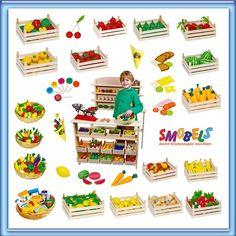 Play Shop Wooden Food Childrens Play Kitchen Accessories Toy Shop Supermarket