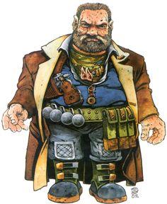 shadowrun; male; dwarf; lined coat