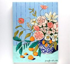 Modern floral still life flowers painting wall by jenniferallevato
