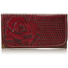American West Coming Up Roses Wallet ($89) ❤ liked on Polyvore featuring bags, wallets, red bag, flap wallet, american bag, american wallet and checkbook wallet