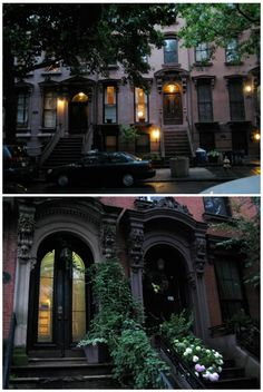 Fort Greene, Brooklyn at dusk - I always wanted to live in a town house like this in a big city. So charming!