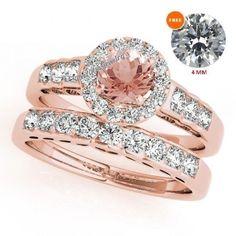 Bridal Set Morganite Engagement Ring Diamond Wedding Band 14K Rose Gold 1.84 Ct #Silvergemsjewelry #WeddingEngagementAnniversaryValentinesGift