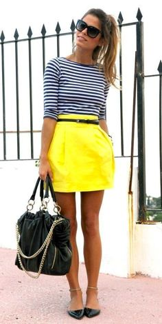 **** Get beautiful looks like this one today from Stitch Fix delivered right to your door! Such a cute pop of color with this bright yellow box pleat skirt paired with navy and white stripe top.  This screams Spring and I love it!  Stitch Fix Spring, Stitch Fix Summer, Stitch Fix Fall 2016 2017. Stitch Fix Spring Summer Fall Fashion. #StitchFix #Affiliate #StitchFixInfluencer