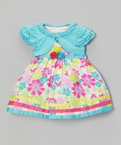 Loving this Aqua & Pink Floral Dress & Cardigan - Infant, Toddler & Girls on #zulily! #zulilyfinds