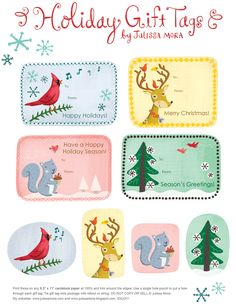 gift tags. http://www.welovetoillustrate.com/2010/12/free-holiday-tag-printables.html