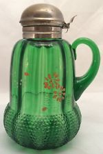 Acorn Pattern Green Glass Syrup Pitcher 1890 Beaumont Glass Co.