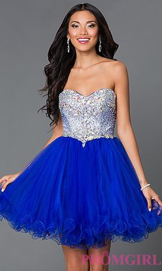 Short Strapless Sweetheart Dress 9170 with Jewel Embellished Bodice at PromGirl.com