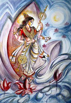Saraswati Painting - Musical Goddess Saraswati - Healing Art by Harsh Malik Yoga Studio Design, Indian Goddess, Goddess Art, Goddess Warrior, Orisha, Indian Art Paintings, Original Paintings, Dance Paintings, Music Painting