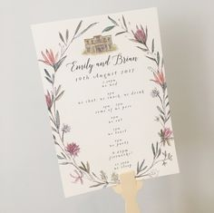 South African Floral Wedding Order of the day fans with proteas and bird of paradise
