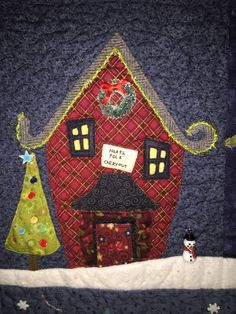 Welcome to the North Pole, Carry Out Detail (2015) Quilt by Anissa Arnold, Pattern by Piece O'Cake Designs, Quilting by Jackie Arnold