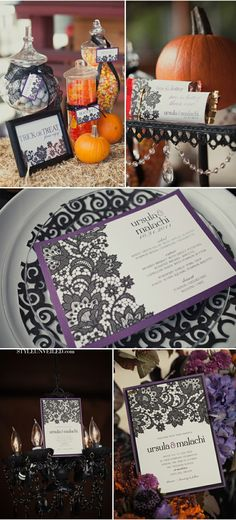 Elegant and vibrant - Orange, purple and black Halloween Wedding color pallet with lacy details