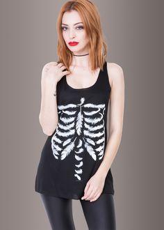 aeaa7e1d740b59 Black Feather Skeleton Gothic Punk Tank