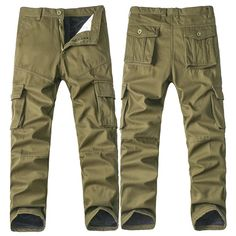 Men's Thicken Fleece Cargo Pants Casual Large Pocket Cotton Straight Leg Trousers at Banggood