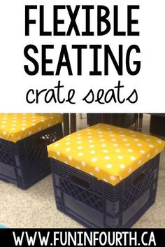 Discover how to make plastic milk crates into a flexible seating option in your elementary classroom with this easy DIY tutorial. Milk Crate Seats, Milk Crate Shelves, Crate Storage, Storage Room, Classroom Desk, Classroom Organization, Future Classroom, Classroom Management, Music Classroom