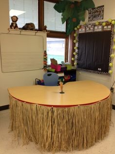 Get grass skirts from party city for safari area Sam, This would be cute for the table