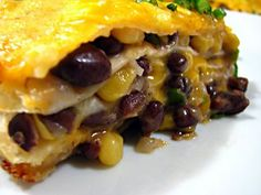 Cheesy Tortilla and Black Bean Pie