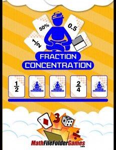 Fraction Concentration (Fractions, Decimals & Percents Game) http://www.mathfilefoldergames.com/fraction-concentration-fractions-decimals-percents/
