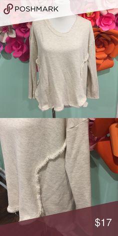 Soft Sweatshirt w Fringe Detail Soft oatmeal colored sweatshirt with subtle fringe details. From online boutique. Never worn, great condition. Tops Sweatshirts & Hoodies