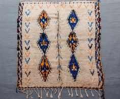 """Yellow & blue Tribal Rug from """"Azilal"""""""