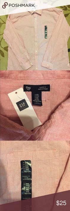 Men's GAP NWT XXL Classic Fit Button Up Shirt 👔 Men's NWT GAP XXL Classic Fit Button Up Shirt. Pink and White Micro Check Design. GAP Shirts Casual Button Down Shirts
