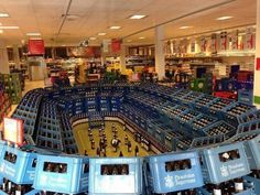 Football arena - beer ad in supermarket