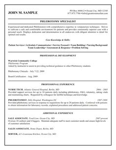 Sample Phlebotomy Resume Prepossessing This Phlebotomist Resume Sample Shows How You Can Convey Your .