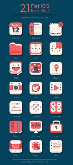 21 Free Flat iOS icons
