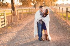 Country, shabby chic, blanket, sunset engagement session at Gibson Ranch in Sacramento by TréCreative http://trecreative.com