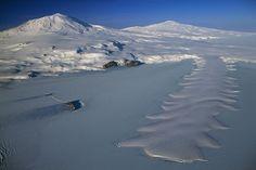 Erebus Ice Tongue and Mount Erebus, Ross Island, Antarctica (South Pole)