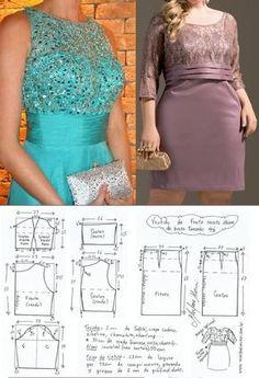 DIY – molde, corte e costura – Marlene Mukai. Vestido de festa com recorte abaixo do busto. Manga e faixa opcional. Esquema de modelagem do 36 ao 56.