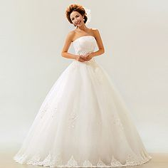 Ball Gown Strapless Floor-length Lace Wedding Dress - USD $ 139.99