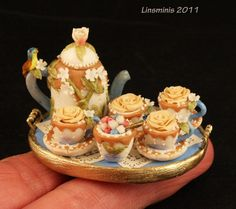 Extraordinary Miniature Sculpted Tea Set by Linda Cummings