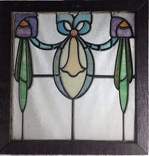 "1900's LEADED STAINED GLASS WINDOW. 17""W X 18""H GLASS SIZE. GREAT CONDITION"