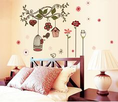 Fantastic Flowers Vine Birds Cage Wall Decals for Bedroom Decorative Stickers Diy Wall Art Home Decor
