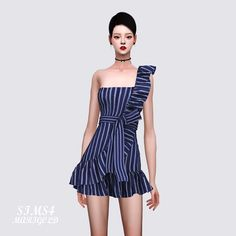 The Sims 4 One Side Shoulder Strap Dress by Marigold Sims 4, Sims New, Sims 4 Characters, Sims4 Clothes, Sims 4 Dresses, Sims Four, Play Sims, The Sims 4 Download, Sims 4 Cas