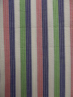 1940s 50s Horizontal CABANA BRIGHT STRIPES Cotton Seersucker Fabric // 1.55 yards