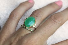 Ring online is SOLD - this ring can be made now with a little different shape of chrysoprase. Last picture shows available stones. Gorgeous large