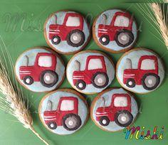 Tractor rojo para la fiesta temática de Matias.  #Fiestaenlagranja #tractor #farmcookies #Matias #galletasmiski #galletasdecoradas Cookies, Decorated Cookies, Theme Parties, Red, Biscuits, Cookie Recipes, Cookie, Cakes, Biscuit